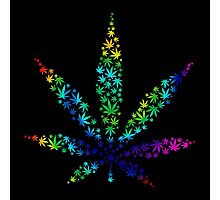 Marijuana in Marijuana Leaf [Rainbow] Photographic Print