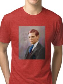 Colorized Vintago Portrait of Young Winston Churchull Tri-blend T-Shirt