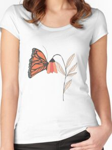 Monarch garden 001 Women's Fitted Scoop T-Shirt