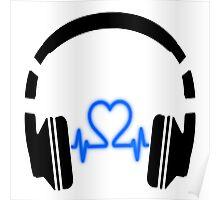 Headphones - Heart Music [Black] Poster