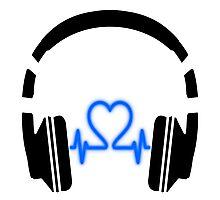 Headphones - Heart Music [Black] Photographic Print