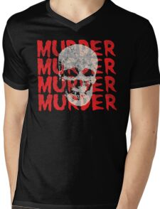 Murder Skull Mens V-Neck T-Shirt