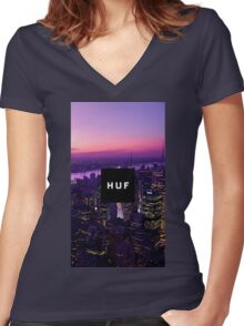 HUF WorldWide City Night Women's Fitted V-Neck T-Shirt
