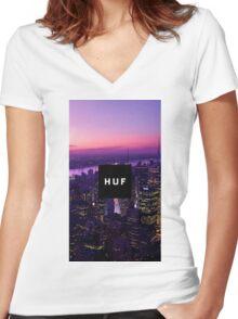 HUF WorldWide City Night Women's Fitted V-Neck T-Shirt
