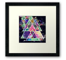 Cool abstract geometric triangles watercolor Framed Print