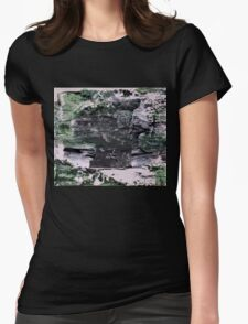 Green Mountains - Original Wall Modern Abstract Art Painting Womens Fitted T-Shirt