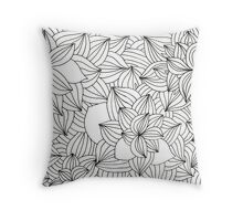 Black and white line leaves Throw Pillow