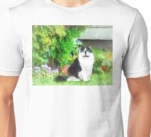 Black and White Cat by Flowers Unisex T-Shirt