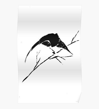0033 - Brush and Ink - Bird Watcher Vector Rebuild Poster