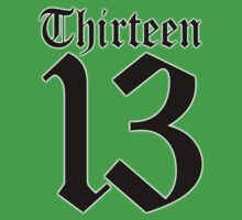 13, TEAM SPORTS, NUMBER 13, THIRTEEN, THIRTEENTH, ONE, THREE, Sport, Old English, Competition, Unlucky, Luck Baby Tee