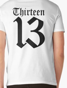 13, TEAM SPORTS, NUMBER 13, THIRTEEN, THIRTEENTH, ONE, THREE, Sport, Old English, Competition, Unlucky, Luck Mens V-Neck T-Shirt