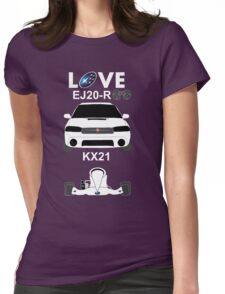 Subaru love, black Womens Fitted T-Shirt