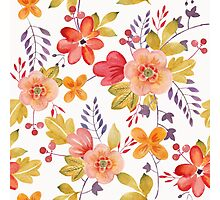 Watercolor Flowers Red Peach Yellow Photographic Print