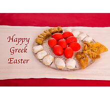 Happy Greek Easter With Easter Food  Photographic Print