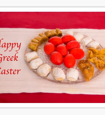 Happy Greek Easter With Easter Food  Sticker