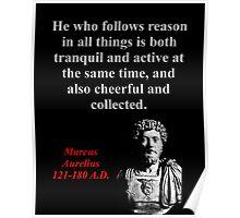 He Who Follows Reason - Marcus Aurelius Poster