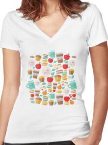 yum yum Women's Fitted V-Neck T-Shirt