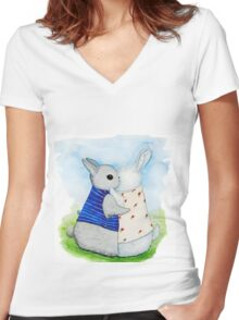 two Bunny hug Women's Fitted V-Neck T-Shirt