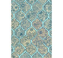 Moroccan Floral Lattice Arrangement - aqua / teal Photographic Print