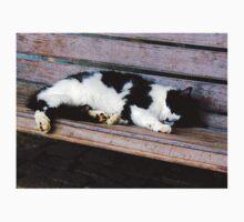 Cat Sleeping on Bench One Piece - Short Sleeve