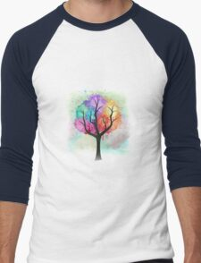 Awesome abstract pastel colors oil paint tree of Life Men's Baseball ¾ T-Shirt