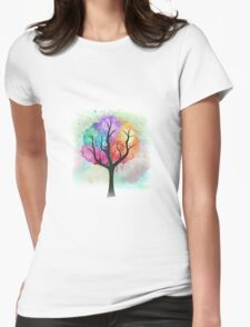 Awesome abstract pastel colors oil paint tree of Life Womens Fitted T-Shirt