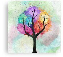 Awesome abstract pastel colors oil paint tree of Life Canvas Print