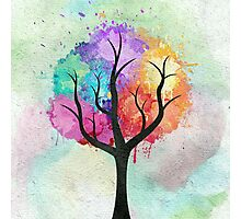 Awesome abstract pastel colors oil paint tree of Life Photographic Print