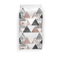 Marble Rose Gold Silver and Floral Geo Triangles Duvet Cover