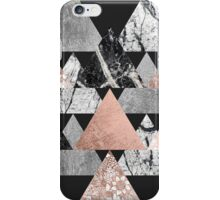 Marble Rose Gold Silver and Floral Geo Triangles iPhone Case/Skin