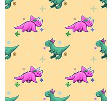 Cute Pixel Dinosaurs Photographic Print