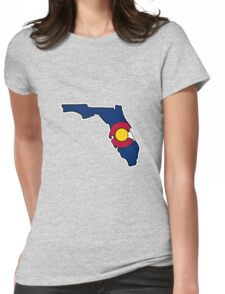 Colorado flag Florida state outline Womens Fitted T-Shirt