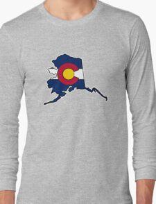 Alaska outline Colorado flag Long Sleeve T-Shirt