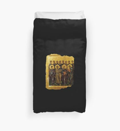 Twelve Disciples, Synaxis, Christianity, Twelve Apostles, Russian, 14th century, Moscow Museum. Duvet Cover