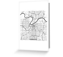 Kansas City Map Gray Greeting Card