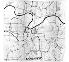 Kansas City Map Gray Poster