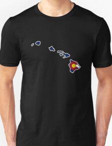 Hawaii outline Colorado flag T-Shirt