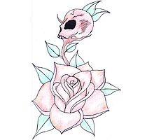 rose & skull bud Photographic Print
