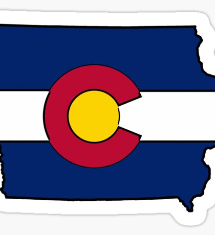 Iowa outline Colorado flag Sticker