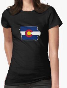 Iowa outline Colorado flag T-Shirt