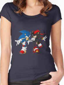 sonic and shadow Women's Fitted Scoop T-Shirt
