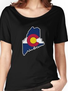 Maine outline Colorado flag Women's Relaxed Fit T-Shirt