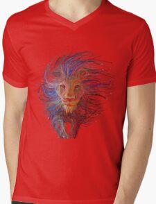 Lion cap Mens V-Neck T-Shirt