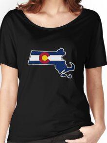 Massachusetts outline Colorado flag Women's Relaxed Fit T-Shirt