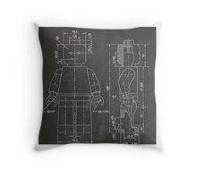 LEGO Minifigure US Patent Art Mini Figure blackboard Throw Pillow