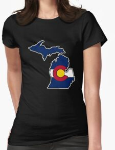 Michigan outline Colorado flag Womens Fitted T-Shirt