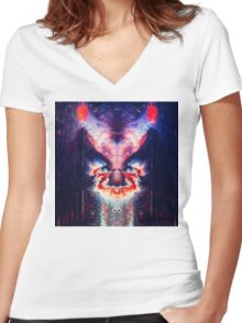 Abstract 19 Women's Fitted V-Neck T-Shirt