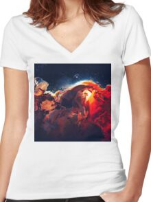 Abstract 18 Women's Fitted V-Neck T-Shirt