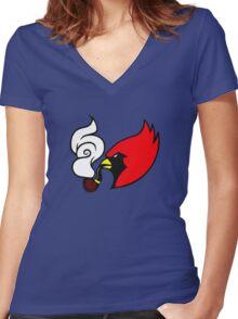 Smoking Cardinal Women's Fitted V-Neck T-Shirt