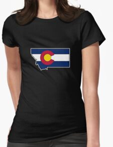 Montana outline Colorado flag  Womens Fitted T-Shirt